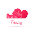 red heart and silhouette of rome city paper vector image
