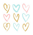 set of 9 decorative hearts vector image
