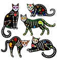 calavera cats set vector image