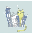Giant cat watching over city condos vector image