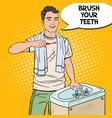 pop art smiling man brushing teeth in bathroom vector image
