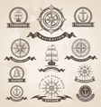 Vintage nautical label set - retro design elements vector