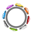 Circle Road Frame with Colorful Cars Isolated on vector image
