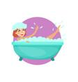 girl taking a bubble bath in a vintage bathtub vector image