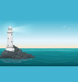 lighthouse on rock stones island landscape vector image