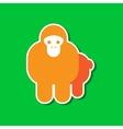 paper sticker on stylish background Cartoon monkey vector image