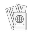 passport and flight tickets vector image