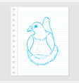 pigeon cartoon on paper sheet - vector image