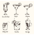 Set cocktail Margarita Whiskey drawn sketch vector image