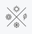 set four seasons icons the seasons winter vector image