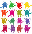 sixteen thick funny cat stencils vector image