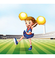 A soccer field with a cheerdancer vector image