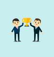business men wear suite show up trophy cup vector image