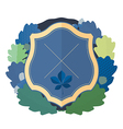 Blue shield with a wreath of oak leaves vector image vector image