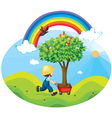 boy carrying tree vector image