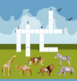 cartoon crossword game with african animals vector image
