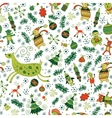 Christmas pattern with deers and trees vector image