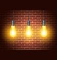 classic light bulbs on rustic brick wall vector image