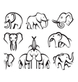 elephants set vector image
