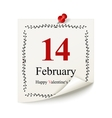 Happy Valentines day calendar sheet vector image