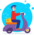 man on retro scooter vector image