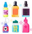set of six bright vape juice vector image