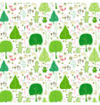 seamless pattern with rabbits bear and flowers vector image