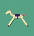 flat icon design kids rocking horse in sticker vector image vector image