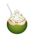 Coconut Ice Cream with Nuts and Green Rice Noodles vector image