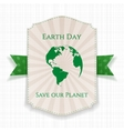 Earth Day striped Banner and festive green Ribbon vector image