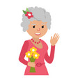 elderly woman with flowers icon vector image