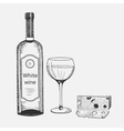Hand drawn set of white wine elements vector image