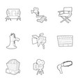 movie production icons set outline style vector image