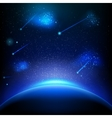 Space background with blue light EPS 10 vector image