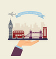 welcome to london attractions of london on a tray vector image