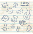 Baby toys cute cartoon set on notepaper vector image