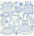 childrens clothes doodles squared paper vector image