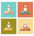 assembly flat icons school cook vector image
