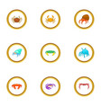 beach wildlife icons set cartoon style vector image