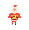 cartoon character santa claus holding a sign sale vector image