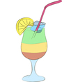 refreshing cocktail with ice and lemon vector image