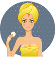 Beautiful women in a towel after a shower vector image vector image