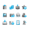 Blue glossy icon set vector image