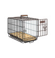 Metal wire cage crate for pet cat dog vector image