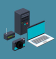 technology laptop cpu router camera device vector image