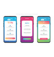 set of of 3 smart-phones with pricing table vector image vector image