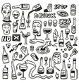 Alcohol bottles - doodles vector image