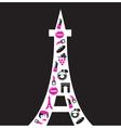 retro paris eiffel tower silhouette vector image vector image