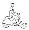man driving scooter vector image