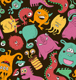 Colorful Seamless Pattern With Funny Monsters vector image